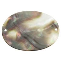 Черная ракушка коннектор, Плоская овальная форма, натуральный, 1/1 петля, 40x30x1.50mm, отверстие:Приблизительно 1mm, продается PC
