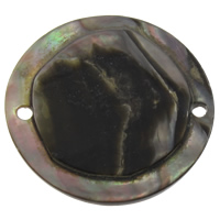 Black Shell Connector, Flat Round, natural, 1/1 loop, 30x3mm, Hole:Approx 1mm, Sold By PC