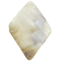 Natural Yellow Shell Pendants Rhombus 24x37x3mm Hole:Approx 1mm