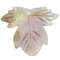 Natural Yellow Shell Pendants Leaf 39x35x2mm Hole:Approx 1mm