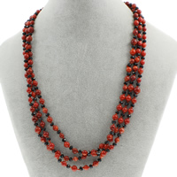 Natural Coral Necklace with Crystal brass spring ring clasp 3-strand   faceted 5mm Sold Per Approx 19.5 Inch Strand