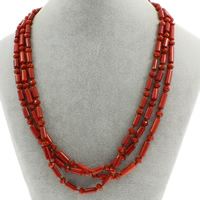 Natural Coral Necklace with Crystal brass spring ring clasp 3-strand   faceted 9x5mm-16x5mm Sold Per Approx 19.5 Inch Strand