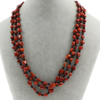 Natural Coral Necklace with Crystal brass spring ring clasp 3-strand   faceted 5mm-9x8x6mm Sold Per Approx 18.5 Inch Strand