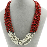 Natural Coral Necklace with White Shell   Crystal brass spring ring clasp 5-strand   faceted 9x5mm Sold Per Approx 17 Inch Strand