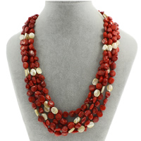 Natural Coral Necklace with Yellow Shell brass spring ring clasp 5-strand 5x10mm-6x12x7mm Sold Per Approx 18.5 Inch Strand