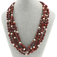 Natural Coral Necklace with Freshwater Pearl brass spring ring clasp 5-strand 3x8x5mm-12x6mm Sold Per Approx 17 Inch Strand
