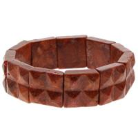 Натуральный коралл браслет, Квадратная форма, натуральный, оранжевый, 18x7mm, Продан через Приблизительно 7 дюймовый Strand
