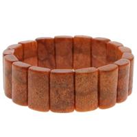 Натуральный коралл браслет, Прямоугольная форма, натуральный, оранжевый, 12x19x6mm, Продан через Приблизительно 7 дюймовый Strand