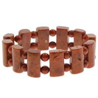 Натуральный коралл браслет, натуральный, оранжевый, 9x18x7mm, Продан через Приблизительно 7 дюймовый Strand
