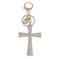 Key Chain, Zinc Alloy, with iron ring & Glass, Cross, gold color plated, faceted & with rhinestone, lead & cadmium free, 47x130x5mm, Hole:Approx 16x16mm, Sold By PC