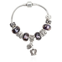 European Bracelet Zinc Alloy with brass chain   Lampwork Crown antique silver color plated different length for choice   enamel   with rhinestone nickel lead   cadmium free