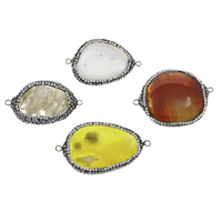 Agate Connector Mixed Agate with Rhinestone Clay Pave   Brass platinum color plated 1/1 loop Grade AAA 22x40x6mm-32x45x7mm Hole:Approx 2mm 10PCs/Bag