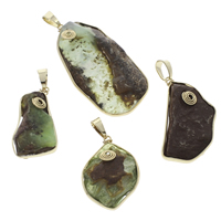 Australia Jade Pendant, with Brass, Nuggets, gold color plated, natural, Grade AAA, 24x38x6mm-33x65x10mm, Hole:Approx 5x10mm, 10PCs/Bag, Sold By Bag