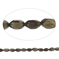 Natural Smoky Quartz Beads, Oval, faceted, Grade AAA, 12x20mm-15x25mm, Hole:Approx 2mm, Approx 17PCs/Strand, Sold Per Approx 15 Inch Strand