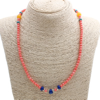 Натуральный коралл Ожерелье, с Синтетическая бирюза & цинковый сплав, плакированный цветом под старое серебро, природный, 8x7mm, Продан через Приблизительно 19.5 дюймовый Strand