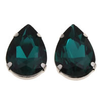 Crystal Cabochon, with Zinc Alloy, Teardrop, platinum color plated, flat back & faceted, 18x25x8mm, Sold By PC