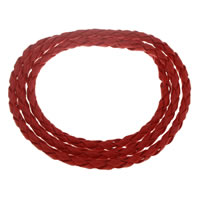 PU Bracelet, zinc alloy magnetic clasp, 3-strand, red, 4mm, Sold Per Approx 22 Inch Strand