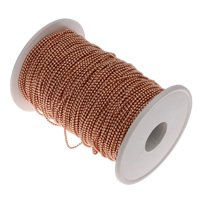 Iron Ball Chain, with plastic spool, rose gold color plated, lead & cadmium free, 1x1mm, 100m/Spool, Sold By Spool