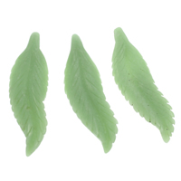 Dyed Jade Pendant, Leaf, green, 22x75x6mm, Hole:Approx 1mm, 5PCs/Bag, Sold By Bag