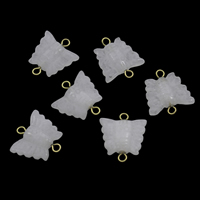 Rose Quartz Connector, with Iron, Butterfly, gold color plated, 1/1 loop, 18x19x5mm, Hole:Approx 2mm, 10PCs/Bag, Sold By Bag