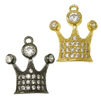 Cubic Zirconia Micro Pave Brass Pendant Crown plated micro pave cubic zirconia nickel lead   cadmium free 15x17.50x3mm Hole:Approx 1mm 10PCs/Lot
