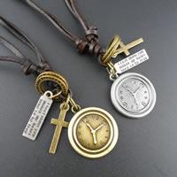 Коровьей ожерелье, цинковый сплав, с коровьей шнур, часы, Другое покрытие, может быть использован как ожерелье или свитера & регулируемый, разноцветный, не содержит никель, свинец, длина:19.6-31.5 дюймовый, 10пряди/Лот, продается Лот