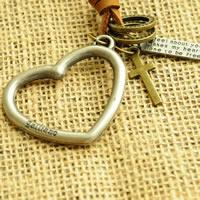 Коровьей ожерелье, цинковый сплав, с коровьей шнур, Сердце, Другое покрытие, может быть использован как ожерелье или свитера & регулируемый, не содержит никель, свинец, длина:19.6-31.5 дюймовый, 10пряди/Лот, продается Лот