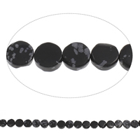 Snowflake Obsidian Beads, Flat Round, 12x5mm, Hole:Approx 1mm, Approx 33PCs/Strand, Sold Per Approx 15 Inch Strand