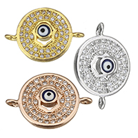 Cubic Zirconia Micro Pave Brass Connector Flat Round plated micro pave cubic zirconia   epoxy sticker   1/1 loop nickel lead   cadmium free 18x13x3mm Hole:Approx 1mm 10PCs/Lot