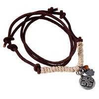 Коровьей ожерелье, Шнур из натуральной кожи, с пеньковый трос & цинковый сплав, плакированный цветом под старое серебро, может быть использован как ожерелье или свитера & регулируемый, длина:19.6-31.5 дюймовый, 5пряди/Лот, продается Лот