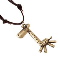 Коровьей ожерелье, Шнур из натуральной кожи, с пеньковый трос & цинковый сплав, Жираф, Покрытие под бронзу старую, может быть использован как ожерелье или свитера & регулируемый, Продан через 19.6-31.5 дюймовый Strand