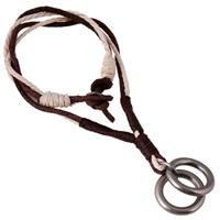 Коровьей ожерелье, Шнур из натуральной кожи, с пеньковый трос & цинковый сплав, черный свнец, может быть использован как ожерелье или свитера & регулируемый, Продан через 19.6-31.5 дюймовый Strand