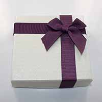 Cardboard Bracelet Box, with Grosgrain Ribbon, Square, with ribbon bowknot decoration, 90x90x22mm, 24PCs/Lot, Sold By Lot