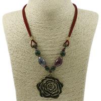 Ожерелья из фарфора, цинковый сплав, с фарфор & Бархат, Форма цветка, Покрытие под бронзу старую, со стразами, не содержит свинец и кадмий, 52x50x12mm, Продан через Приблизительно 17 дюймовый Strand