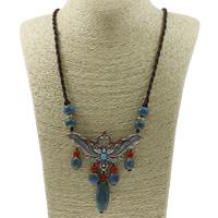 Ожерелья из фарфора, цинковый сплав, с фарфор & Нейлоновый шнурок, с 5cm наполнитель цепи, Форма цветка, плакированный цветом под старое серебро, не содержит свинец и кадмий, 80x47x4mm, Продан через Приблизительно 33.5 дюймовый Strand