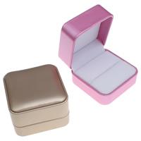 Tektura Pojedyncze pudełko na pierścionek, ze PU & Welwet, Kwadrat, dostępnych więcej kolorów, 70x48x70mm, sprzedane przez PC