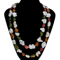 Natural Freshwater Pearl Long Necklace, multi-colored, 10x13mm-24x27mm, Sold Per Approx 45.5 Inch Strand