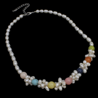 Natural Freshwater Pearl Necklace with Gemstone brass lobster clasp with 5cm extender chain Rice 5-6mm Sold Per Approx 17 Inch Strand