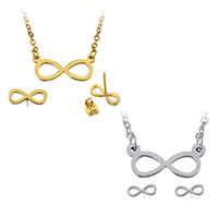 Fashion Stainless Steel Jewelry Sets earring   necklace Infinity plated oval chain 18x8x1.5mm 2x2.5x0.5mm 10x4x12mm Length:Approx 19 Inch