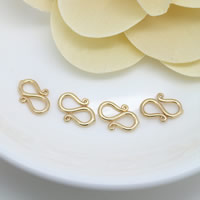 Brass S Shape Clasp, 24K gold plated, nickel, lead & cadmium free, 12x8x1.50mm, Hole:Approx 0.5mm, 100PCs/Lot, Sold By Lot