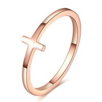 Пальцевидное Кольцо Титановой Стали, титан, Kресты, плакированный цветом розового золота, размер:8, 10ПК/Лот, продается Лот