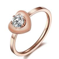 титан Хвост палец кольцо, Сердце, плакированный цветом розового золота, со стразами, 8mm, размер:4, 10ПК/Лот, продается Лот