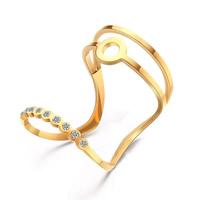 титан Манжеты палец кольцо, плакирован золотом, со стразами, 25mm, размер:6, 10ПК/Лот, продается Лот