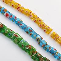Murano Millefiori Lampwork Koralik, Kwadrat, Ręcznie robione, różnej wielkości do wyboru, dostępnych więcej kolorów, otwór:około 1mm, długość:około 15 cal, sprzedane przez wiele