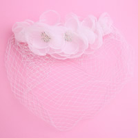 Bridal Hair Flowers, Spun Silk, with Gauze, for bridal & with rhinestone, white, 250x100mm, Sold By PC