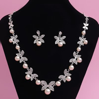 Wedding Jewelry Sets, Zinc Alloy, earring & necklace, with ABS Plastic Pearl, stainless steel post pin, Butterfly, silver color plated, for bridal & with rhinestone, lead & cadmium free, 45cm, Length:Approx 17.5 Inch, 3Set/Lot, Sold By Lot