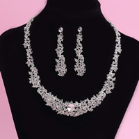 Wedding Jewelry Sets, Zinc Alloy, earring & necklace, stainless steel post pin, silver color plated, for bridal & with rhinestone, lead & cadmium free, 45cm, Length:Approx 17.5 Inch, 3Set/Lot, Sold By Lot
