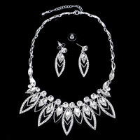 Wedding Jewelry Sets, Zinc Alloy, earring & necklace, with plastic earnut & Crystal, stainless steel post pin, with 5cm extender chain, Horse Eye, silver color plated, for bridal & faceted & with rhinestone, lead & cadmium free, 45cm, Length:Approx 17.5 Inch, 3Set/Lot, Sold By Lot