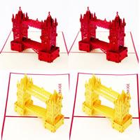 бумага 3D открытка, здание, 3D-эффект, Много цветов для выбора, 130x160mm, 10ПК/Лот, продается Лот