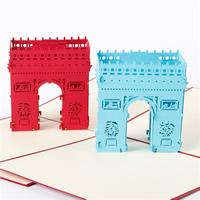 бумага 3D открытка, здание, 3D-эффект, Много цветов для выбора, 150x150mm, 10ПК/Лот, продается Лот